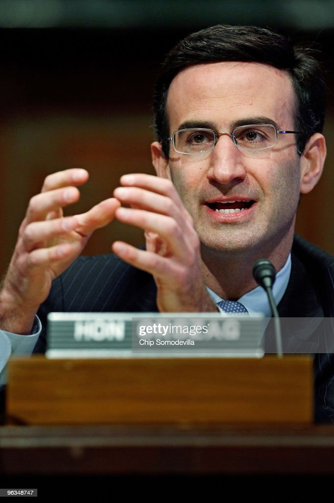 White House Office of Managment and Budget Director Peter Orszag testifies before the Senate Budget Committee about the Obama Administration's FY2011 budget on Capitol Hill February 2, 2010 in Washington, DC. Orszag faces tough questions from both Republicans and Democrats about the budget, which would bring the projected deficit for 2010 to $1.6 trillion.