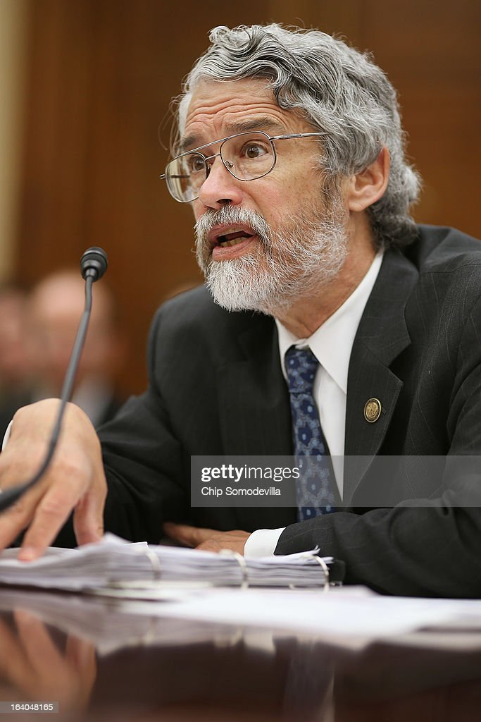 White House Office of Science and Technology Policy Director John Holdren testifies before the House Science, Space and Technology Committee during a hearing in the Rayburn House Office Building on Capitol Hill March 19, 2013 in Washington, DC. The committee asked government and military experts about efforts to track and mitigate asteroids, meteors and other 'near-Earth objects.'