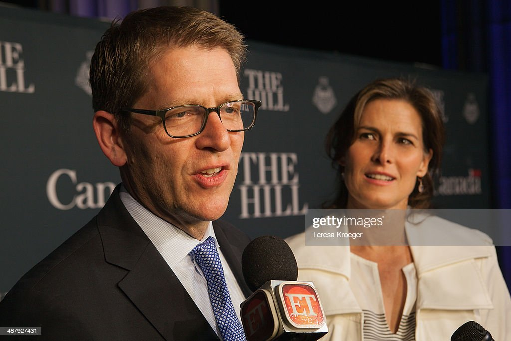 White House Press Secretary Jay Carney (L) and Claire Shipman attend The Hill's and Entertainment Tonight's celebration of the 100th White House Correspondents' Association Dinner weekend at the Embassy of Canada on May 2, 2014 in Washington, DC.