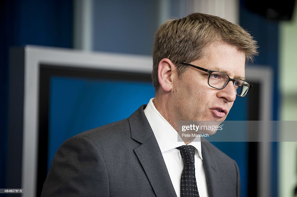 White House Press Secretary Jay Carney briefs the press at the White House on April 14, 2014 in Washington, DC. Carney confirmed that CIA Director John Brennan visited Ukrainian capital Kiev over the weekend.