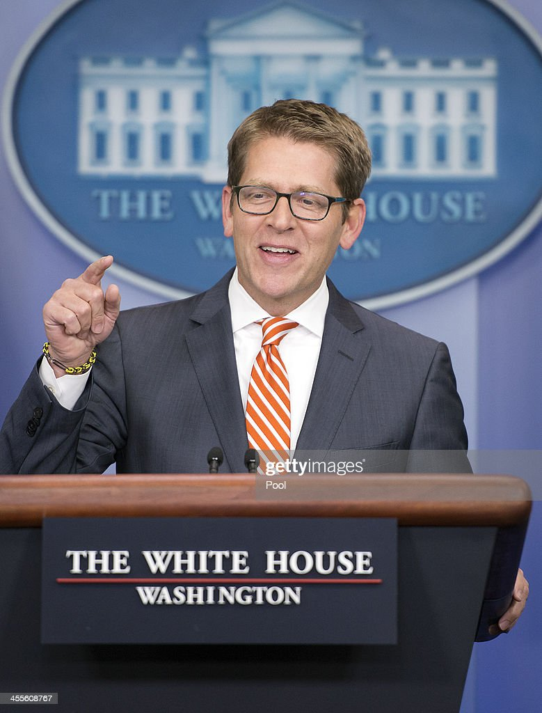 White House Press Secretary <a gi-track='captionPersonalityLinkClicked' href=/galleries/search?phrase=Jay+Carney&family=editorial&specificpeople=1064957 ng-click='$event.stopPropagation()'>Jay Carney</a> conducts his daily press briefing in the Brady Press Briefing Room of the White House on December 12, 2013 in Washington, D.C. Carney took questions about access for still photographers in the wake of the op-ed piece in the New York Times by Santiago Lyon, Vice President and Director of Photography at The Associated Press.