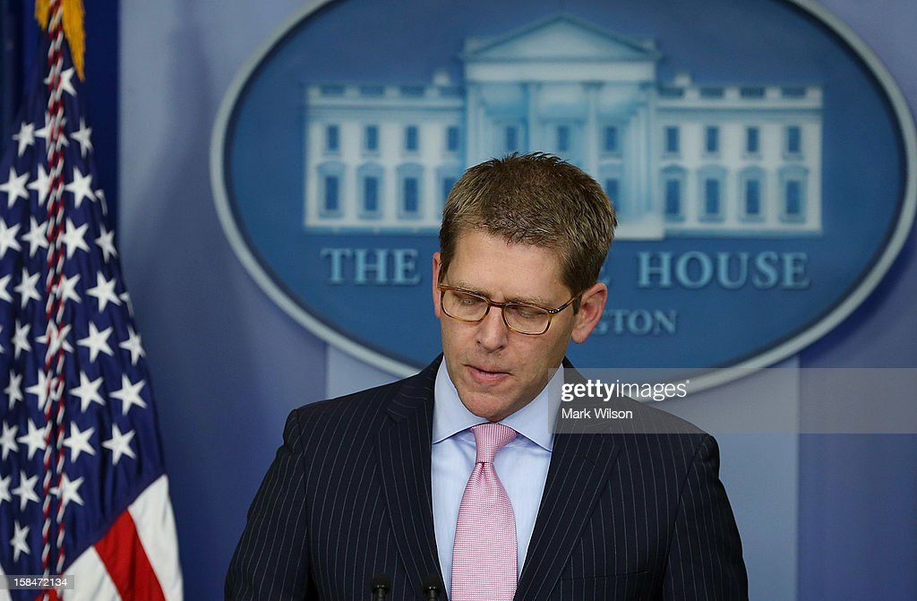 White House Press Secretary Jay Carney speaks during a briefing at the White House on December 17, 2012 in Washington, DC. Carney spoke on topics including the mass shooting at Sandy Hook Elementary School and U.S. President Barack Obama's discussions with Speaker of the House John Boehner on the so called fiscal cliff and balanced deficit reductions.