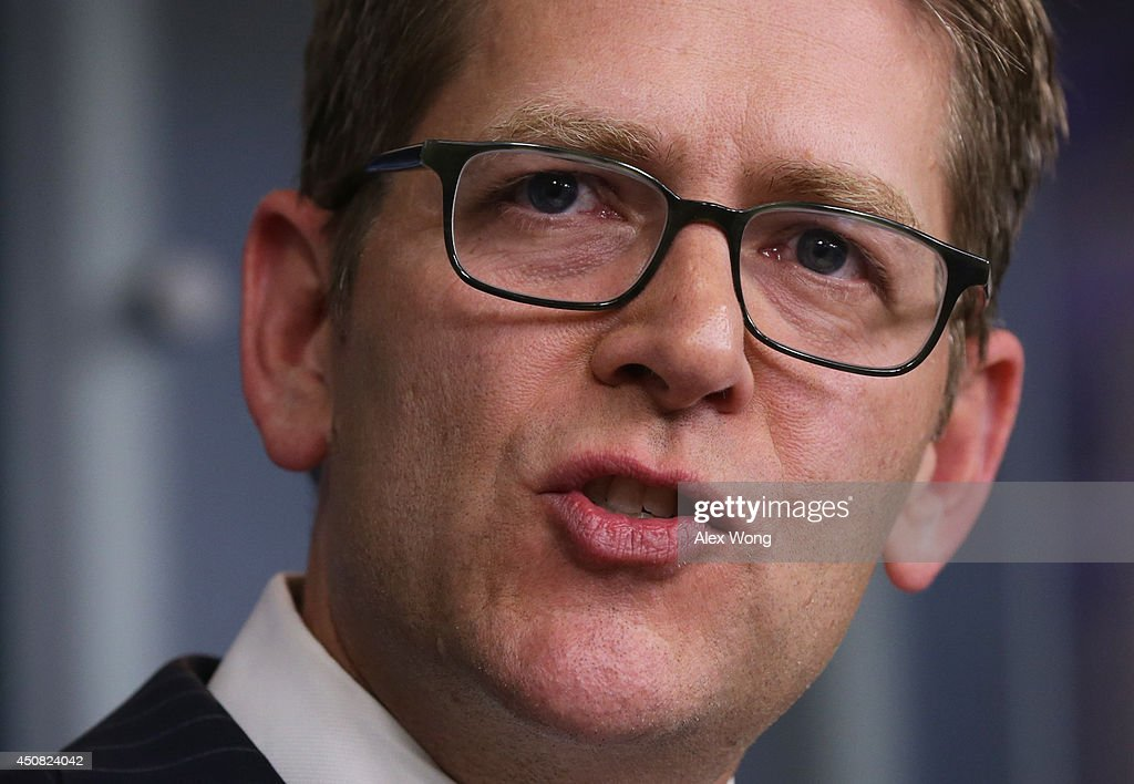 White House Press Secretary Jay Carney speaks during his last White House news briefing at the James Brady Press Briefing Room of the White House June 18, 2014 in Washington, DC. Jay Carney was stepping down from his position as the White House Press Secretary.