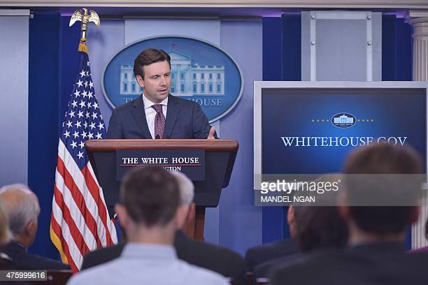 White House Press Secretary Josh Earnest answers questions on the massive cyberattack on the personal data of government employees June 5 2015 during...