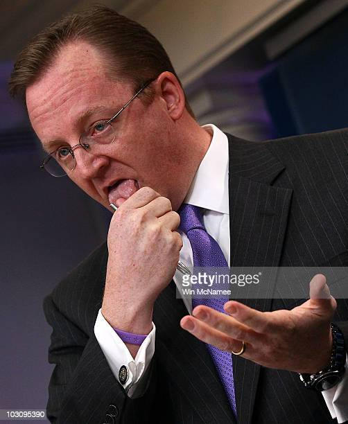 White House Press Secretary Robert Gibbs answers questions at the White House during the daily briefing July 26 2010 in Washington DC Gibbs responded...