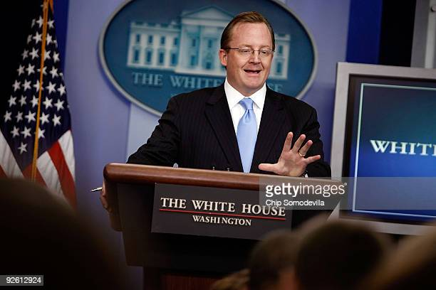 White House Press Secretary Robert Gibbs holds the daily press briefing at the White House November 2 2009 in Washington DC Gibbs was peppered with...