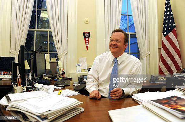 White House press secretary Robert Gibbs sits at his desk in his office at the White House January 5 2011 in Washington DC White House Press...