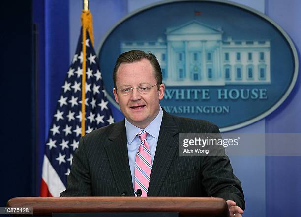 White House Press Secretary Robert Gibbs speaks during a daily briefing February 2 2011 at the White House in Washington DC Gibbs discussed various...
