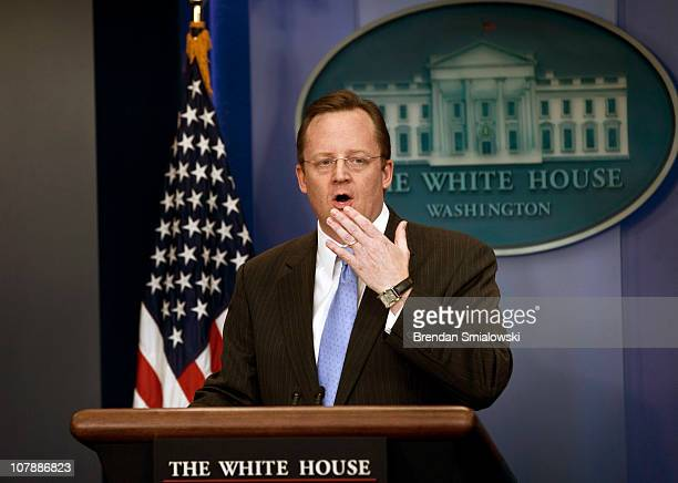 White House press secretary Robert Gibbs speaks during a daily press briefing at the White House January 5 2011 in Washington DC White House Press...