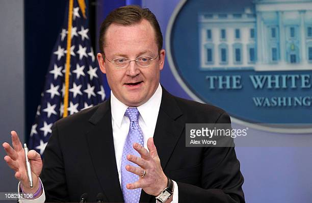 White House Press Secretary Robert Gibbs speaks during the daily briefing January 24 2011 at the White House Briefing Room in Washington DC Gibbs...