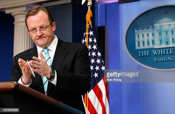 White House Press Secretary Robert Gibbs speaks during the daily news briefing June 22 2010 at the White House in Washington DC Gibbs refused to say...