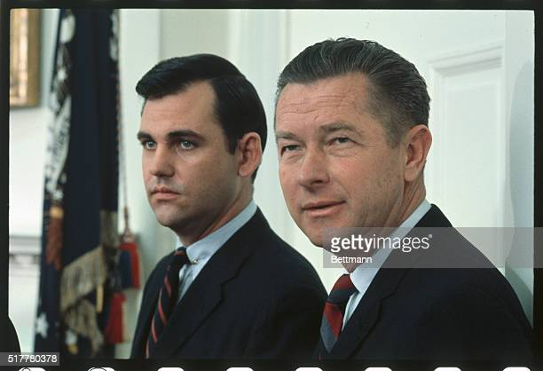 White House Press Secretary Ron Ziegler left and Herb Klein Director of Communications listen to Senator Everett Dirksen and Rep Gerald Ford as they...