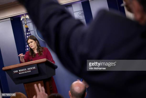 White House Press Secretary Sarah Huckabee Sanders answers questions during a briefing at the White House October 5 2017 in Washington DC Sanders...