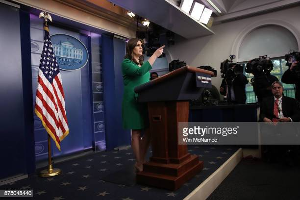 White House press secretary Sarah Huckabee Sanders answers questions during a briefing at the White House on November 16 2017 in Washington DC...