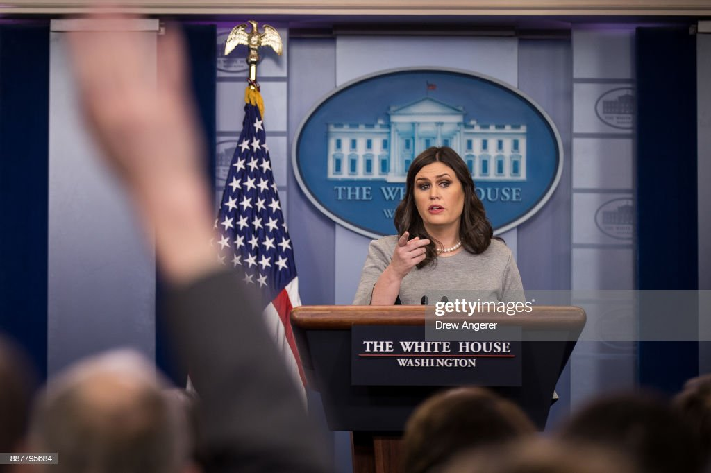 White House press secretary Sarah Huckabee Sanders answers questions during the daily briefing at the White House, December 7, 2017 in Washington, DC.