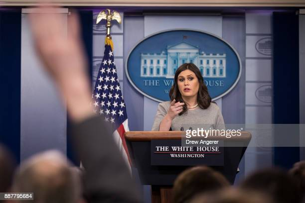 White House press secretary Sarah Huckabee Sanders answers questions during the daily briefing at the White House December 7 2017 in Washington DC