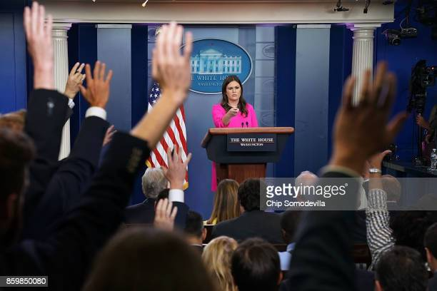 White House Press Secretary Sarah Huckabee Sanders conducts a news conference in the Brady Press Briefing Room at the White House October 10 2017 in...
