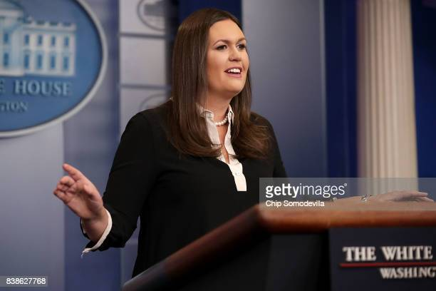 White House Press Secretary Sarah Huckabee Sanders holds a news conference in the Brady Press Briefing Room at the White House August 24 2017 in...