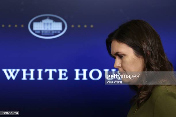 White House Press Secretary Sarah Huckabee Sanders leaves after a daily news briefing at the James Brady Press Briefing Room of the White House...