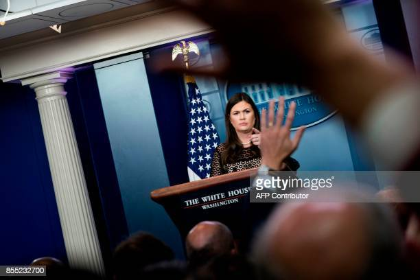 White House Press Secretary Sarah Huckabee Sanders speaks about tax reform during a briefing at the White House September 28 2017 in Washington DC /...