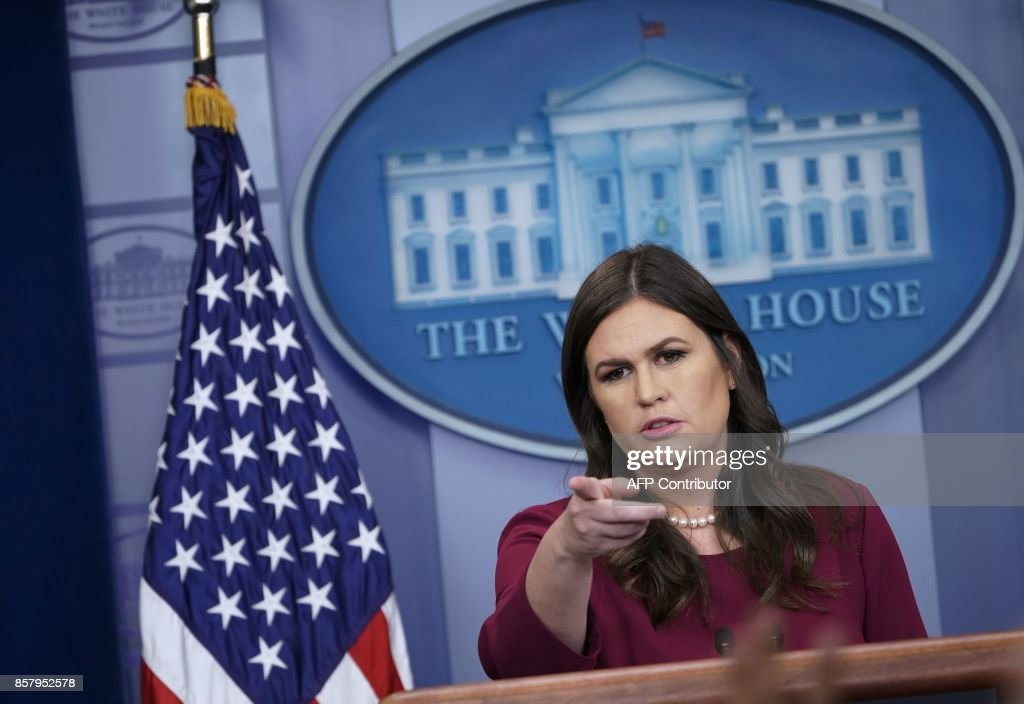 White House Press Secretary Sarah Huckabee Sanders speaks during a briefing in the Brady Briefing Room of the White House on October 5, 2017 in Washington, DC. /