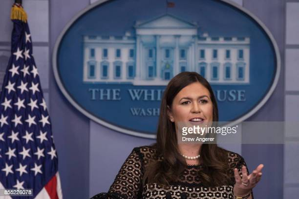 White House Press Secretary Sarah Huckabee Sanders speaks during the daily news briefing at the James Brady Press Briefing Room of the White House...