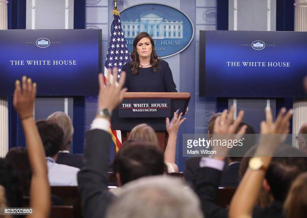 White House Press Secretary Sarah Huckabee Sanders speaks to the media during the daily press briefing at the White House on July 26 2017 in...
