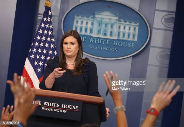 White House Press Secretary Sarah Huckabee Sanders speaks to the media during the daily press briefing at the White House on August 1 2017 in...