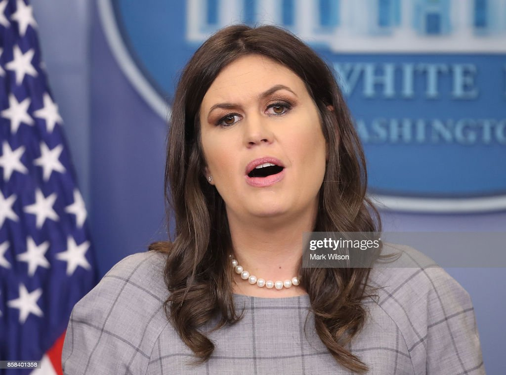 White House Press Secretary Sarah Huckabee Sanders speaks to the media during her daily press briefing at the White House on October 6, 2017 in Washington, DC.