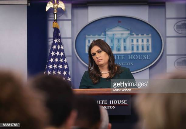 White House Press Secretary Sarah Huckabee Sanders speaks to the media during her daily press briefing at the White House on October 20 2017 in...