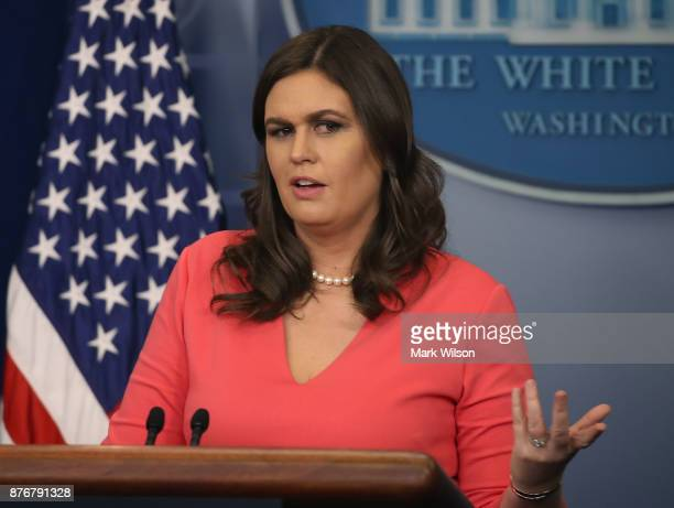 White House Press Secretary Sarah Huckabee Sanders speaks to the media during her daily press briefing at the White House on November 20 2017 in...