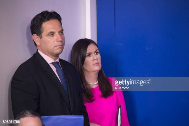 White House Press Secretary Sarah Huckabee Sanders stands with White House staff during an oncamera press briefing in the James S Brady Press...