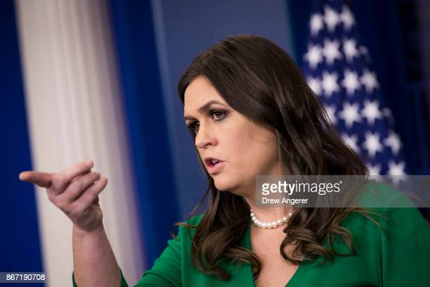 White House Press Secretary Sarah Huckabee Sanders takes questions during the daily press briefing at the White House October 27 2017 in Washington DC