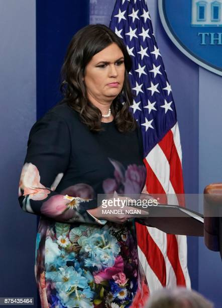 White House Press Secretary Sarah Sanders arrives for the daily briefing in the Brady Briefing Room of the White House on on November 17 2017 in...