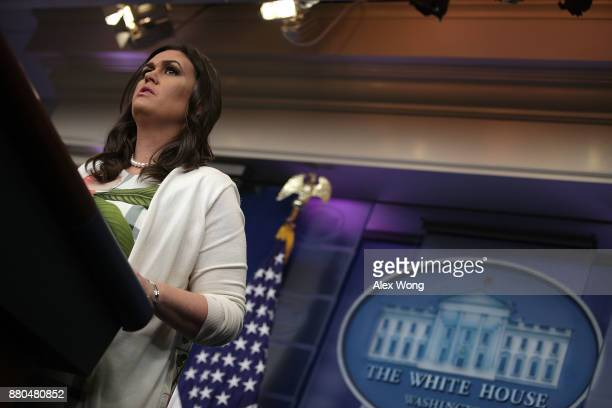 White House Press Secretary Sarah Sanders participates in a daily briefing in the James Brady Press Briefing Room of the White House November 27 2017...
