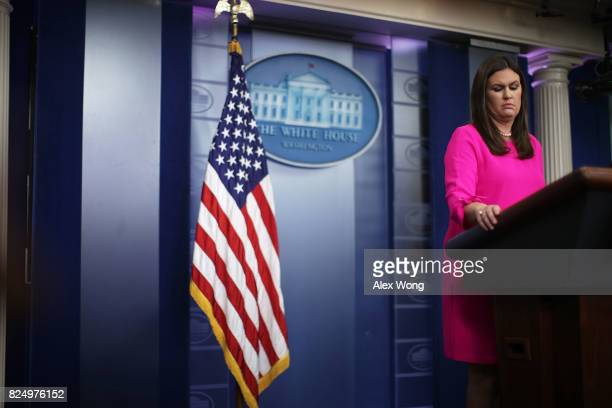 White House Press Secretary Sarah Sanders pauses during a daily briefing at the James Brady Press Briefing Room of the White House July 31 2017 in...