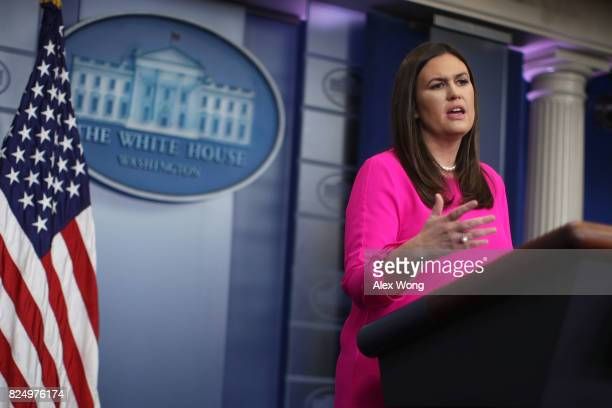 White House Press Secretary Sarah Sanders speaks during a daily briefing at the James Brady Press Briefing Room of the White House July 31 2017 in...