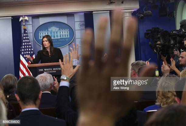 White House Press Secretary Sarah Sanders speaks during a daily briefing at the James Brady Press Briefing Room of the White House August 25 2017 in...