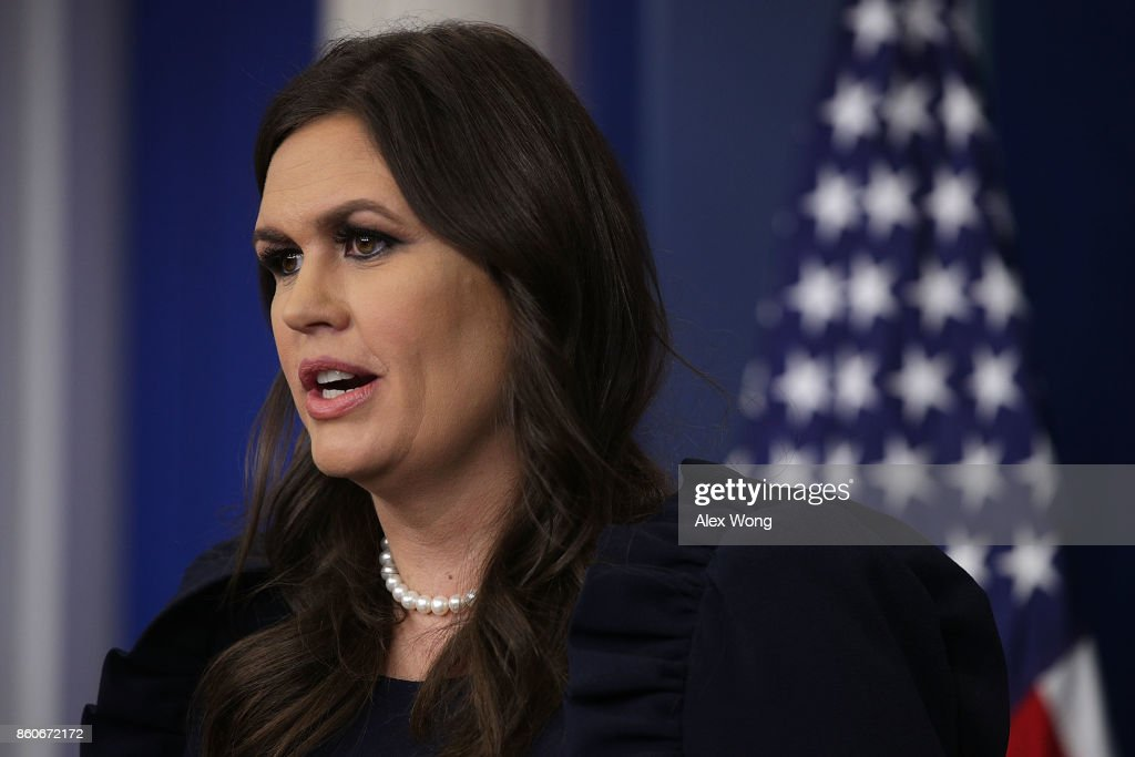 White House Press Secretary Sarah Sanders speaks during a daily news briefing at the James Brady Press Briefing Room of the White House October 12, 2017 in Washington, DC. Kelly showed up unusually at the news briefing and he told reporters that heÕs not getting fired or quitting the White House soon.