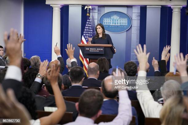 White House Press Secretary Sarah Sanders speaks during the daily briefing in the Brady Briefing Room of the White House on October 10 2017 in...
