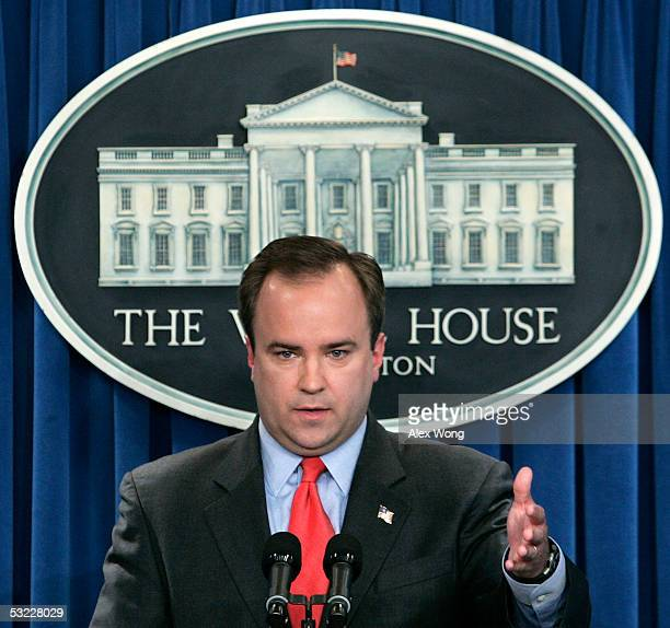 White House Press Secretary Scott McClellan speaks during the daily news briefing July 12 2005 at the White House in Washington DC McClellan refused...