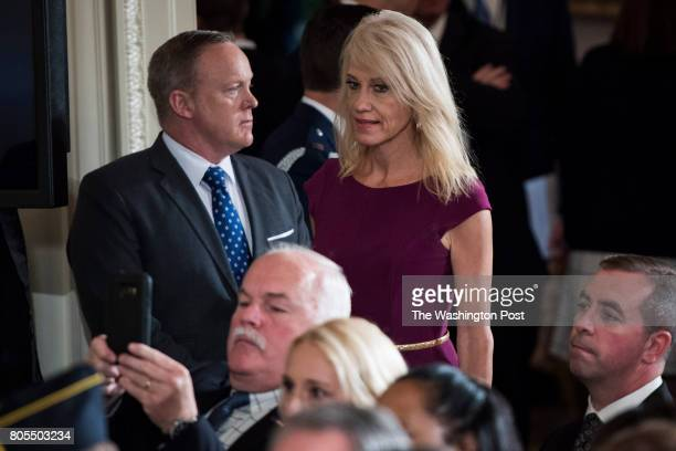 White House press secretary Sean Spicer and Kellyanne Conway senior White House Advisor arrive during a bill signing event for the 'Department of...