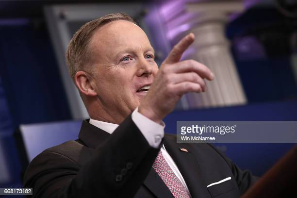 White House press secretary Sean Spicer answers questions during his daily briefing at the White House April 13 2017 in Washington DC Spicer answered...