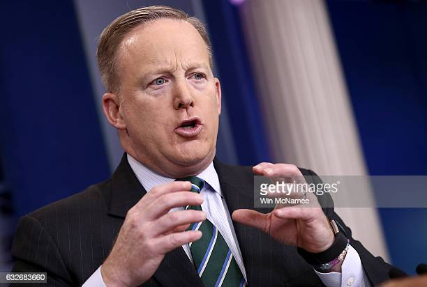 White House Press Secretary Sean Spicer answers questions during the daily briefing at the White House on January 25 2017 in Washington DC Spicer...