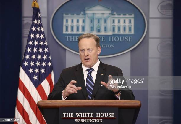 White House Press Secretary Sean Spicer answers questions during the daily press briefing at the White House February 22 2017 in Washington DC Spicer...