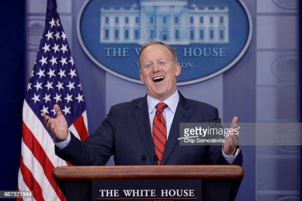 White House Press Secretary Sean Spicer answers reporters' questions during the daily news conference in the Brady Press Briefing Room at the White...