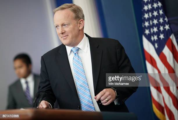 White House Press Secretary Sean Spicer arrives for a daily briefing at the White House June 26 2017 in Washington DC Spicer answered a range of...