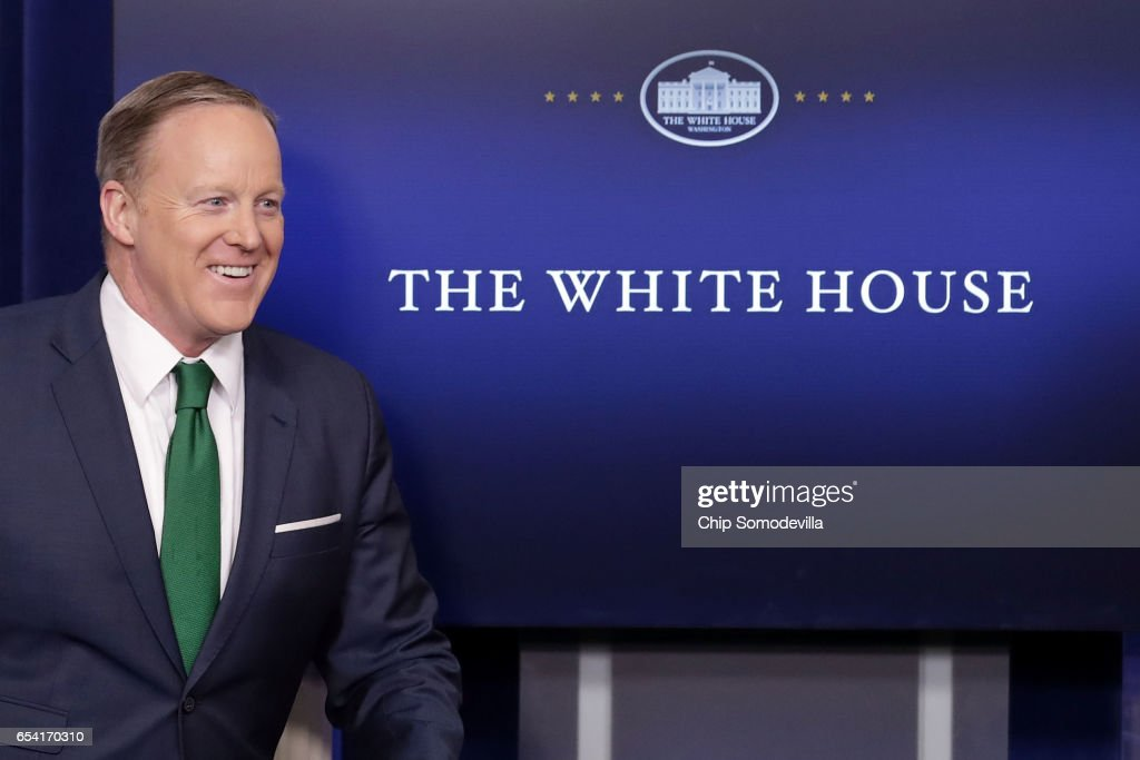 White House Press Secretary Sean Spicer arrives for the daily press briefing in the Brady Press Briefing Room at the White House March 16, 2017 in Washington, DC. Spicer accused the news media of 'cherry-picking' information regarding President Donald Trump's accusation that former President Barack Obama wire-tapped Trump Tower.