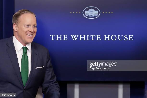 White House Press Secretary Sean Spicer arrives for the daily press briefing in the Brady Press Briefing Room at the White House March 16 2017 in...