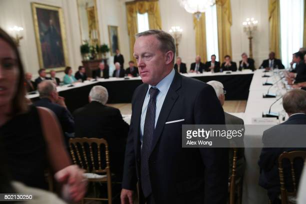 White House Press Secretary Sean Spicer attends a meeting between President Donald Trump and the Senate Republicans at the East Room of the White...